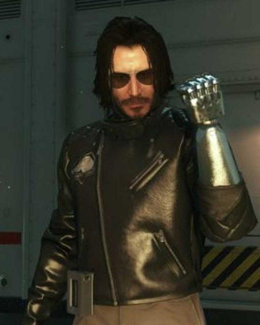 Black LeatherCyberpunk 2077 Johnny Silverhand Motorcycle Jacket