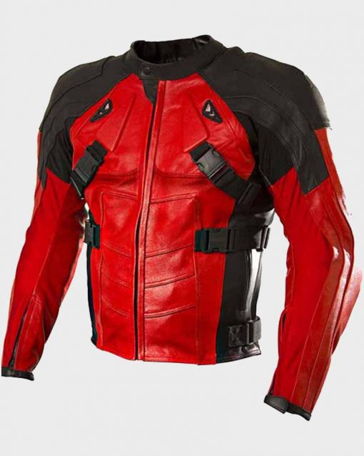 Red And Black Biker Style Deadpool Armored Leather Jacket