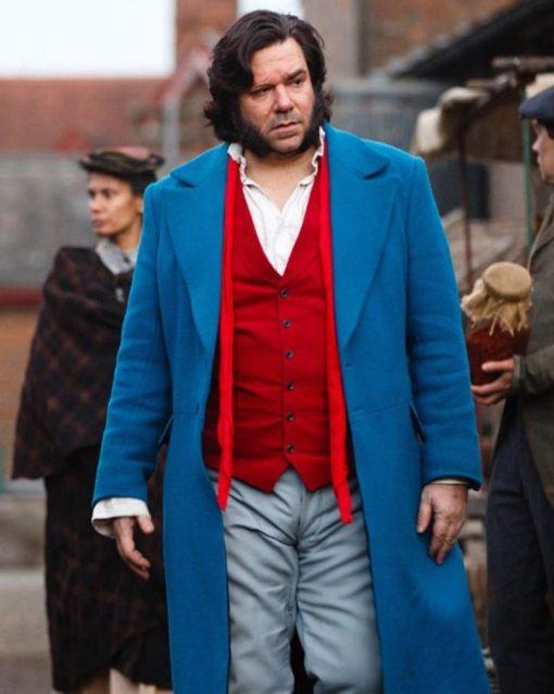 Matt Berry Blue Wool Long Coat