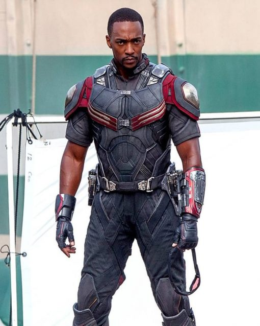Anthony Mackie Red and Silver Vest