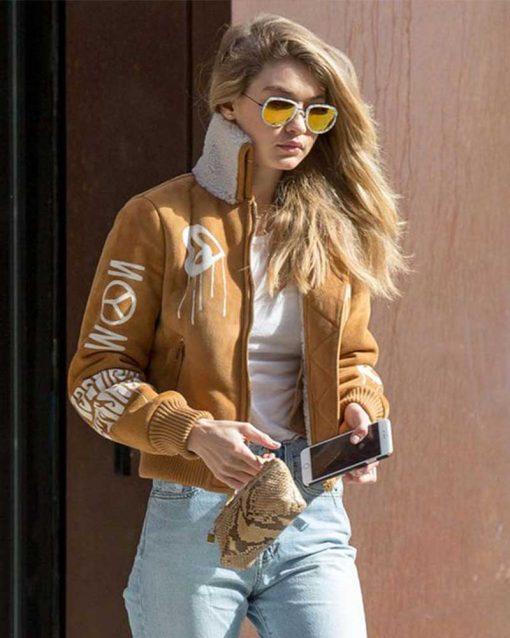 Gigi Hadid Camel Brown Suede Jacket
