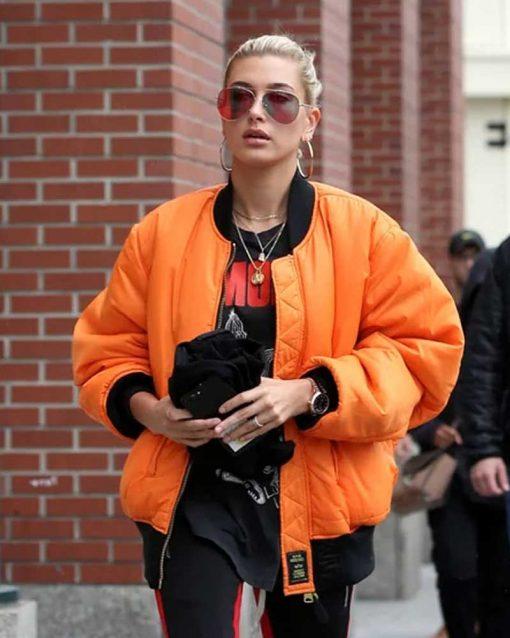 Oversized Bomber Hailey Baldwin Orange Jacket