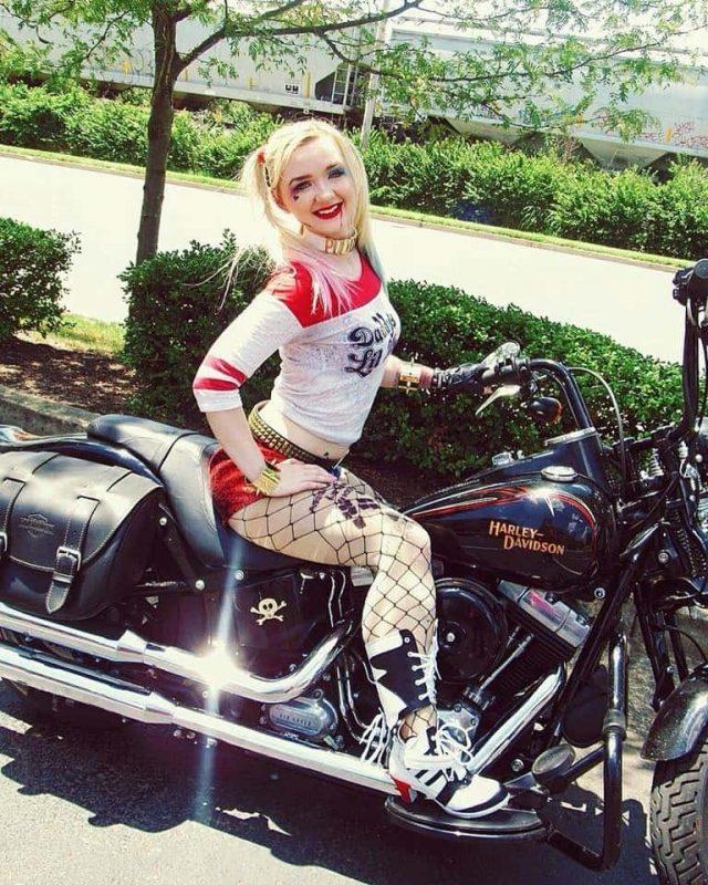 Harley Quinn with Harley Davidson Cosplay