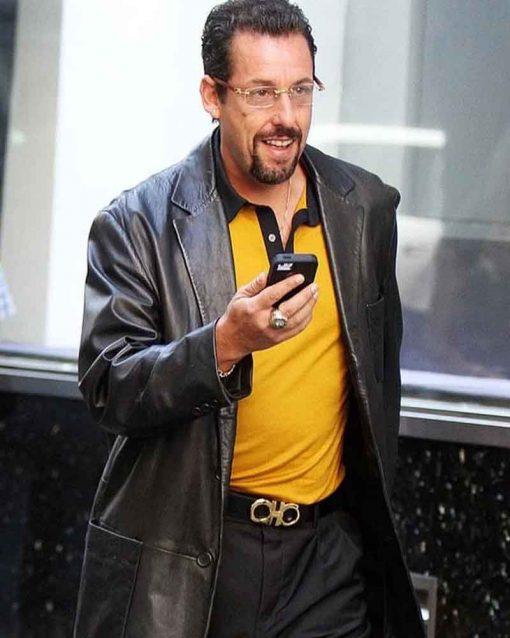 Uncut Gems Adam Sandler Black Leather Jacket Coat