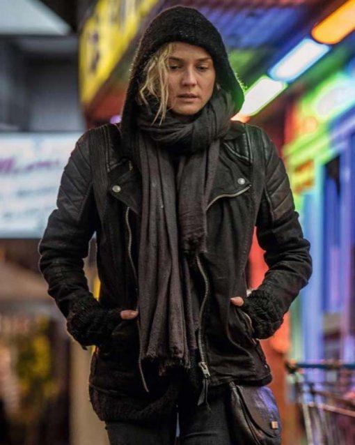 Diane Kruger Black Leather In The Fade Motorcycle Katja Sekerci Jacket