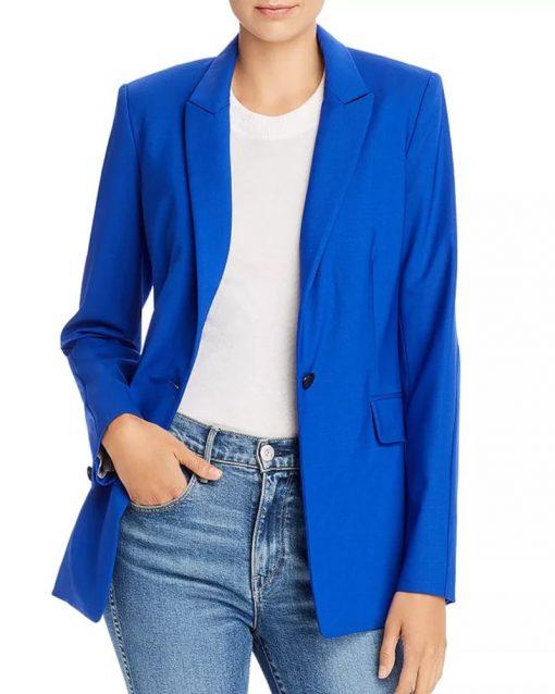 Joy God Friended Me Single Button Blue Blazer
