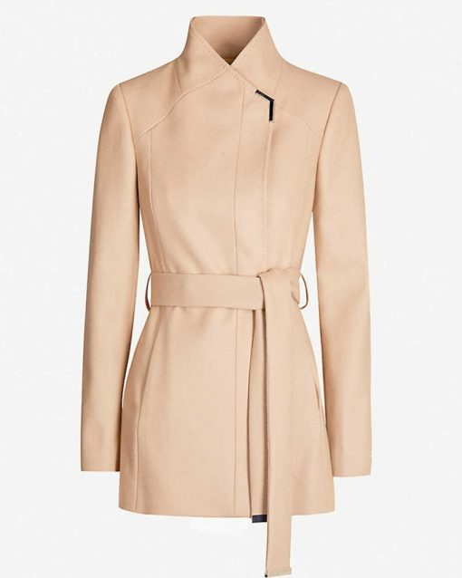 Melissa Benoist Tan Wrap Coat