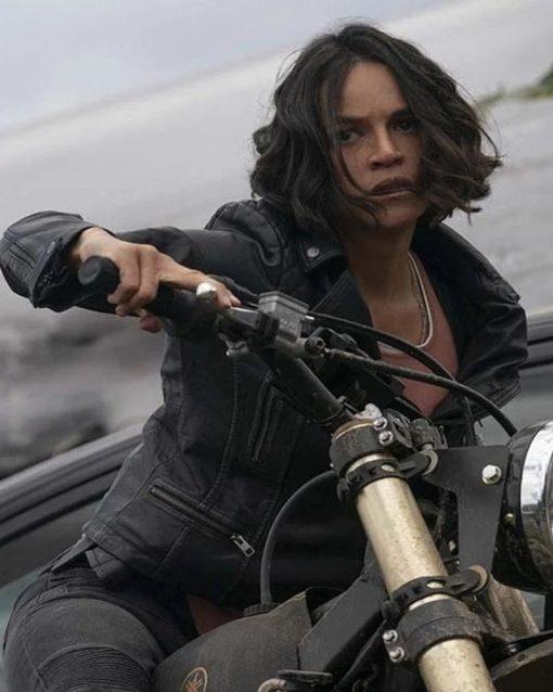 Michelle Rodriguez Biker Black Jacket