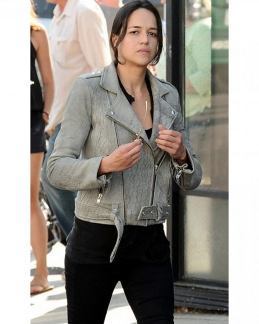 Fast and Furious Michelle Rodriguez Grey Biker Jacket