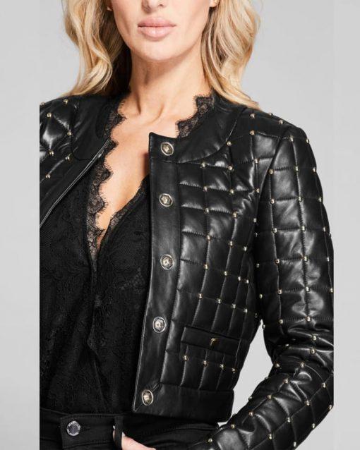 Nicole Kang Batwoman Leather Black Studded Jacket