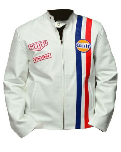 Le Mans Steve McQueen Gulf White Leather Jacket