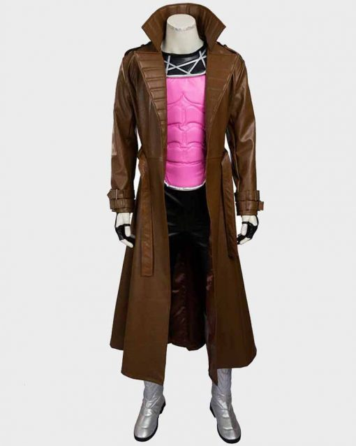 Remy LeBeau Brown Leather Gambit Trench Coat