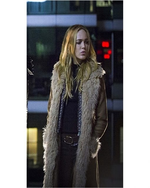 Caity Lotz Brown Cotton Fur Coat