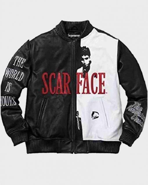 Scarface Al Pacino Bomber Leather Tony Montana Jacket