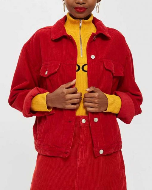 Willow Shields Red Corduroy Jacket