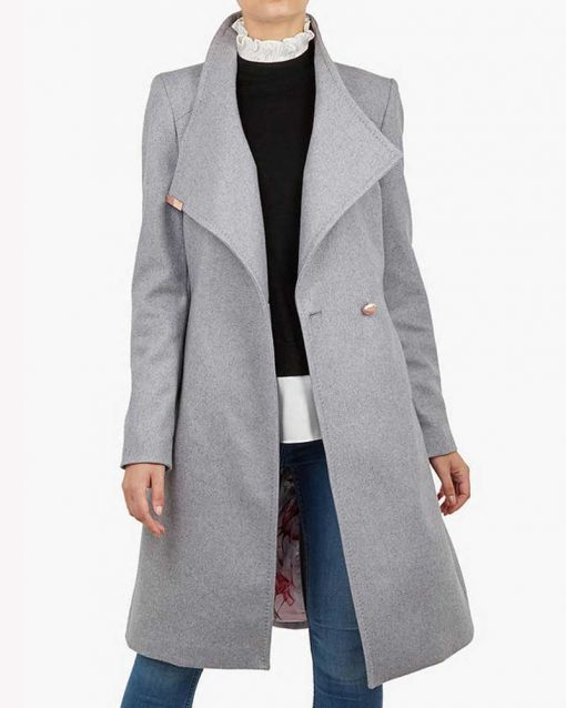 Spinning Out Mandy Davis Grey Wrap Trench Coat