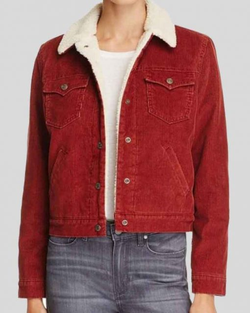 Stranger Things Natalia Dyer Red Denim Fur Nancy Wheeler Jacket