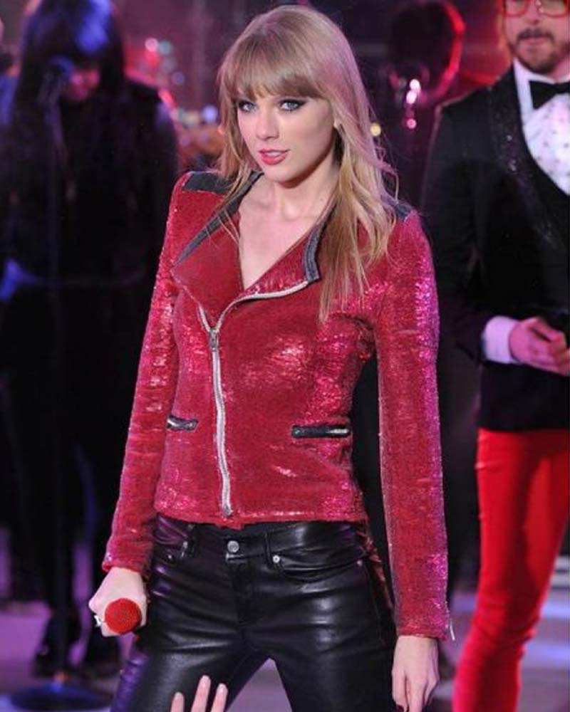 Motorcycle Taylor Swift Red Sequin Jacket Danezon