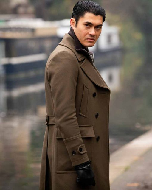 Henry Golding Brown Double Breasted Coat