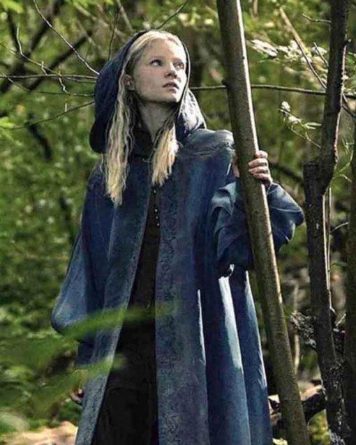 Freya Allan Blue Trench TV Series The Witcher Ciri Coat