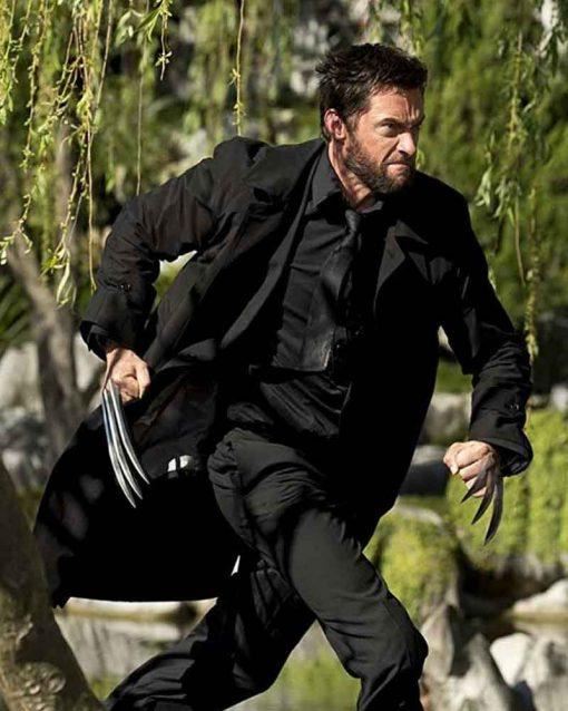 Hugh Jackman Leather The Wolverine Logan Black Coat