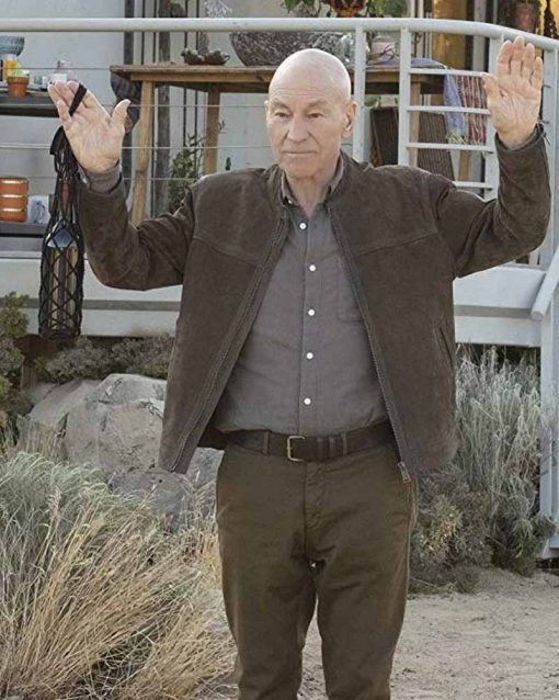 Patrick Stewart Tv Series Start Trek Picard Brown Leather Jacket