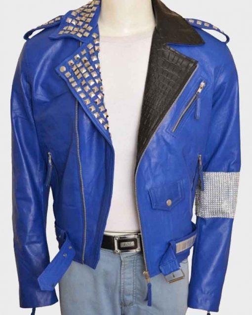WWE Superstar Brian Kendrick Blue Motorcycle Leather Jacket