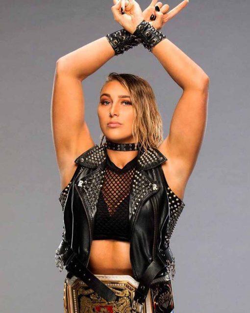 WWE Rhea Ripley Black Sueded Vest