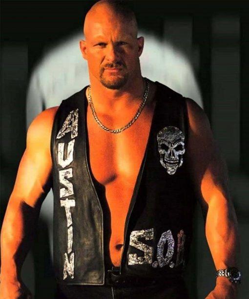 WWE Black Leather Stone Cold Steve Austin 3:16 Skull Vest