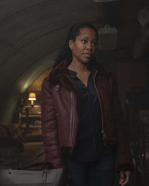 Watchmen Regina King Shearling Angela Abar Brown Leather Jacket