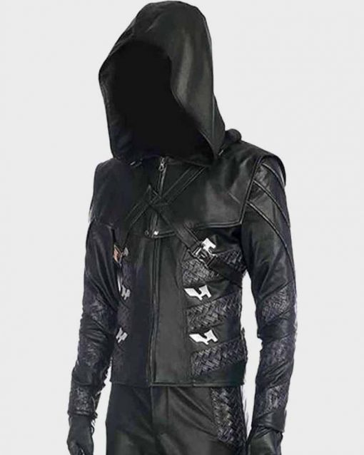 Adrian Chase Leather Hooded Arrow S05 Prometheus Jacket