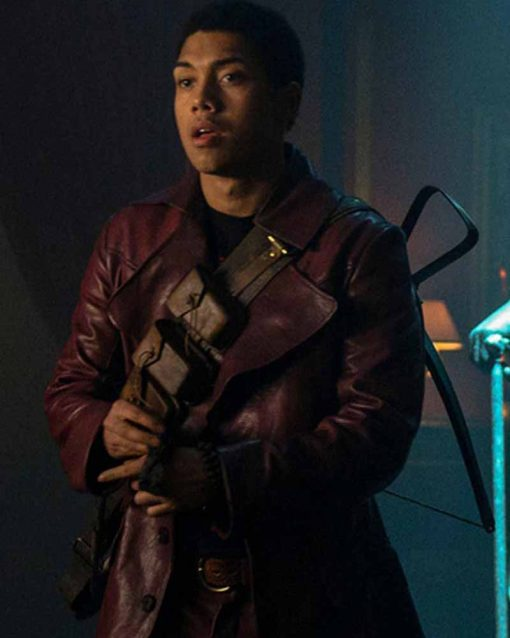 Chance Perdomo Maroon LeatherChilling Adventures of Sabrina Ambrose Spellman Coat
