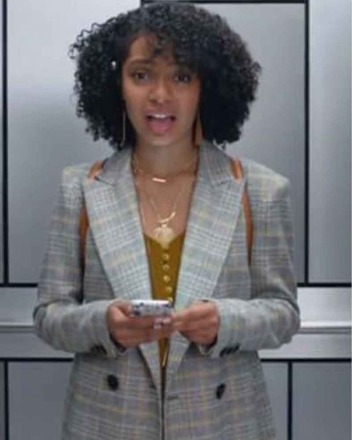 TV Series Grown-ish Double Breasted Yara Shahidi Grey Trench Zoey Johnson Coat