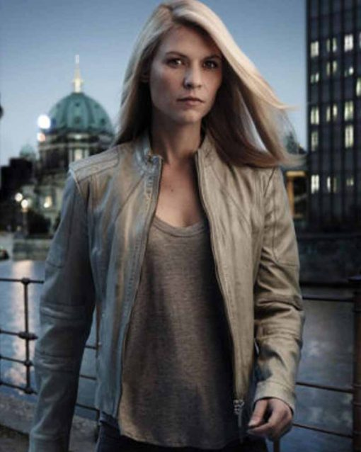 Homeland Carrie Mathison Grey Leather Jacket