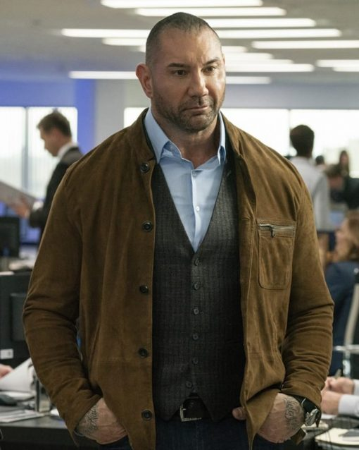 My Spy Dave Bautista Camel Brown Leather Jacket