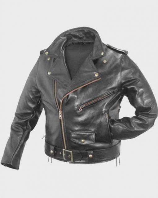 WWE Triple H Black Leather Motorcycle Jacket