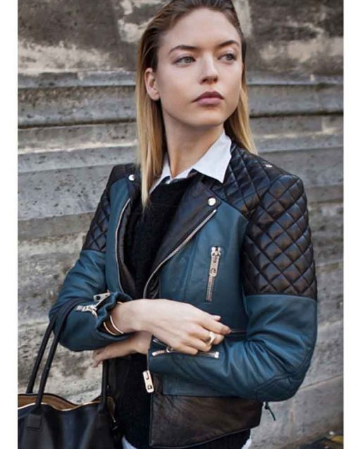 Fashion Model Street Style Quilted Martha Hunt Leather Jacket