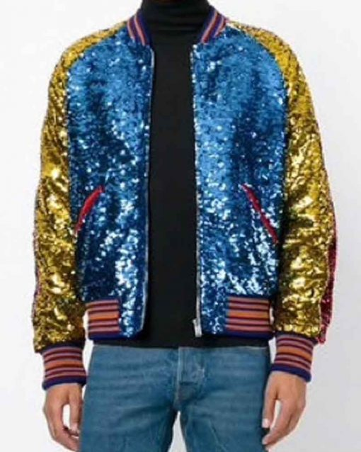 BTS Jimin DNA Style Sequin Bomber Jacket