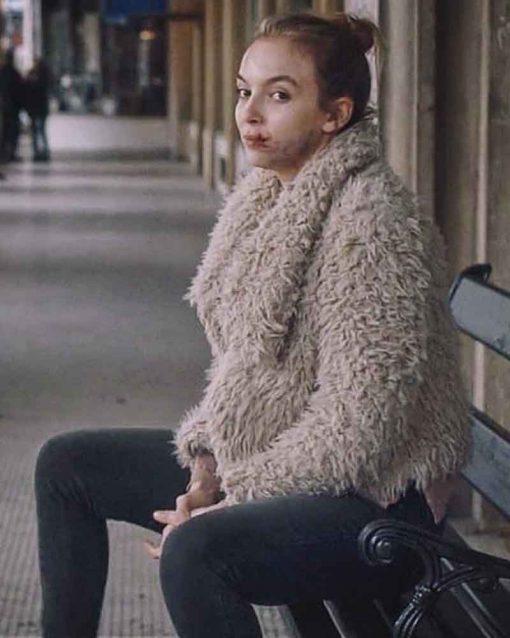 Jodie Comer Shearling TV Series Killing Eve Villanelle Fur Jacket