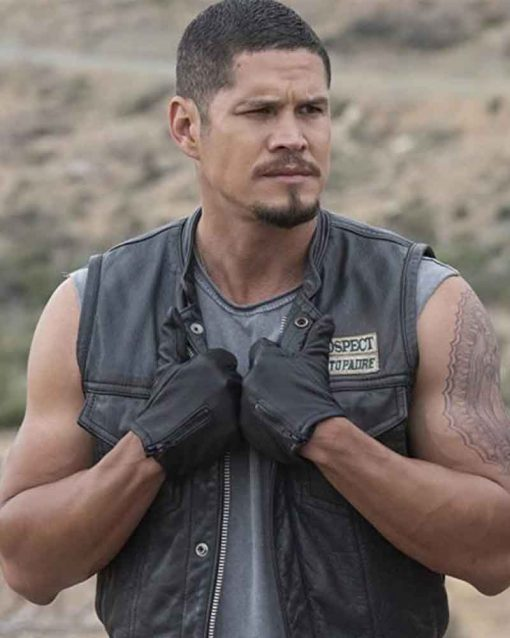 Mayan M.C JD Pardo Black Leather Ezekiel Reyes Vest