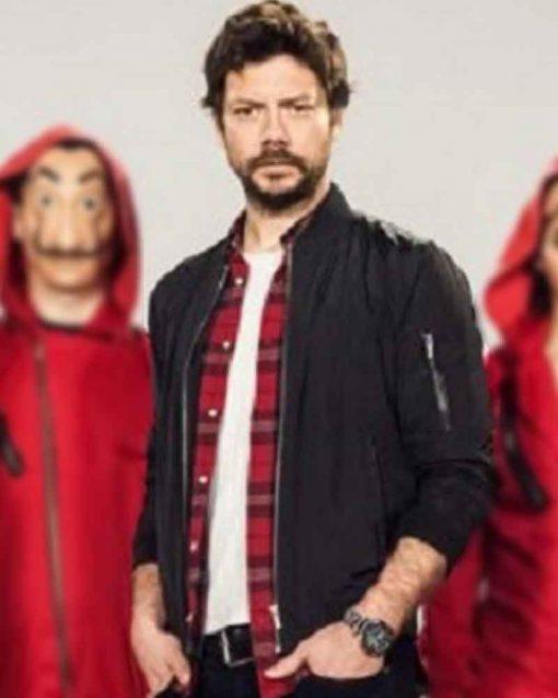 TV Series Money Heist Álvaro Morte Black Cotton El Profesor Jacket