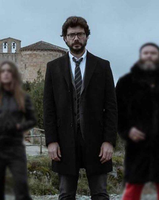 Money Heist Black Álvaro Morte El Profesor Mid Length Coat