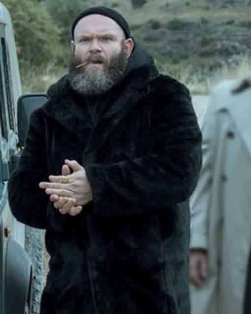 Money Heist Helsinki Black Shearling Coat