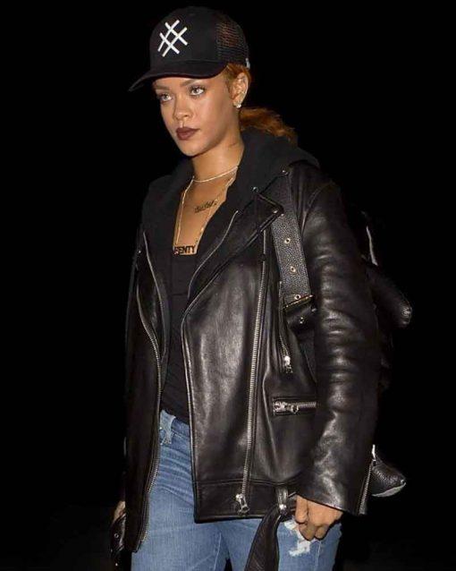 Black Leather Singer Rihanna Motorcycle Jacket