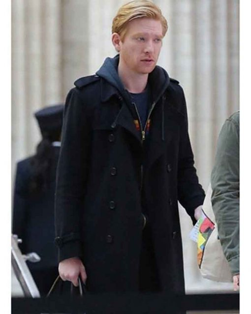 Run Domhnall Gleeson Double Breasted Billy Johnson Black Coat