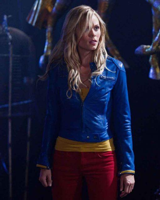 Laura Vandervoort Blue Leather Jacket
