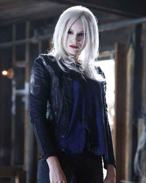 Brit Morgan TV Series Supergirl Black Leather Leslie Willis Jacket
