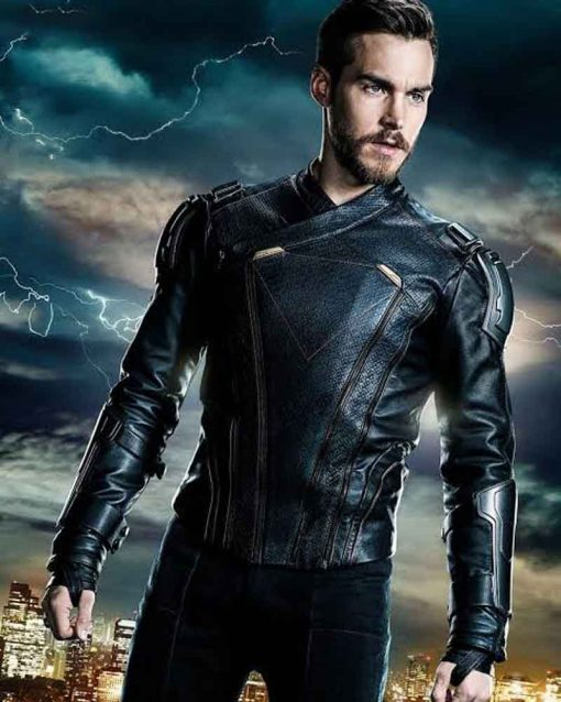Chris Wood TV Series Supergirl Black Leather Mon-El Jacket