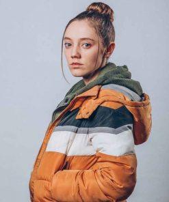 Mirren Mack Puffer TV Series The Nest Kaya Jacket with Hood