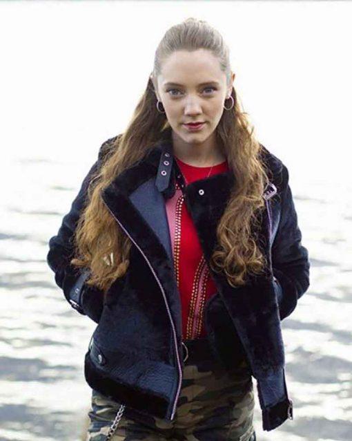 The NestMirren Mack Black Shearling Kaya Leather Jacket